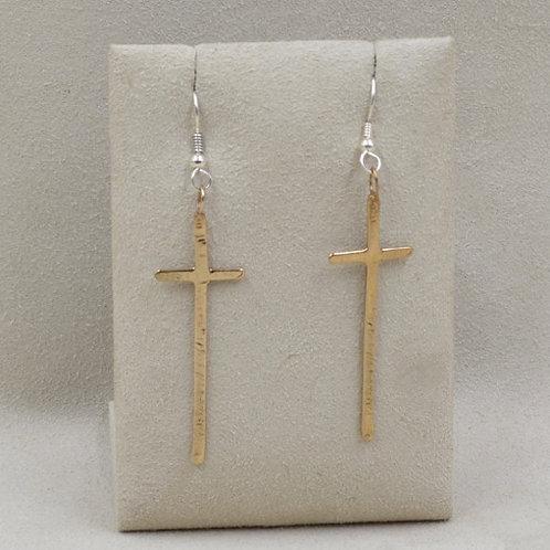 Long Bronze Cross Earrings by Richard Lindsay