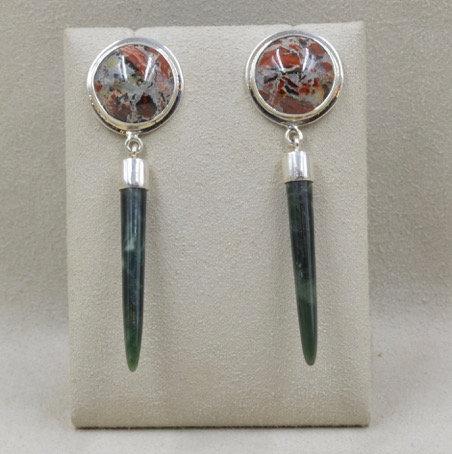 Sterling Silver Jasper and Jade Earrings by Richard Lindsay