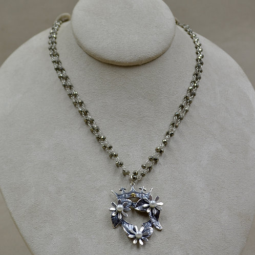 Crowns and Flowers Faceted Pyrite Necklace by Michele McMillan