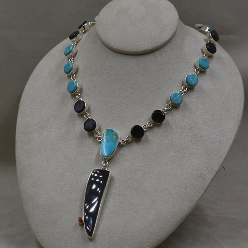 Black Jade, Blue Gem, and Kingman Turquoise Necklace by Dukepoo
