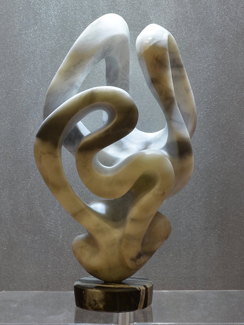 """""""Rabbit River"""" - Soapstone on Black Marble Sculpture by Carlo Martinez"""