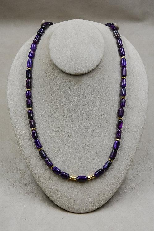 14k Gold, Gem Grade Sugilite Necklace