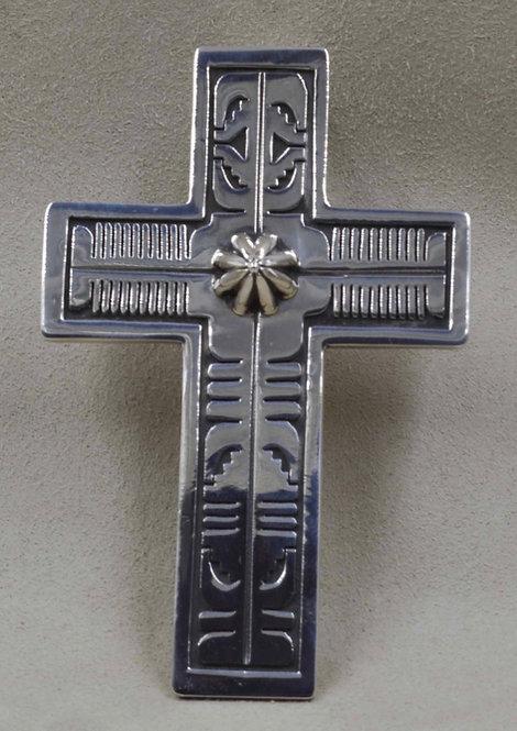 Large Sterling Silver Cross Pendant by Leonard Nez