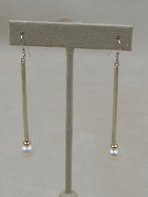 Long 18k Gold, Natural Pearl Earrings by Jacqueline Gala