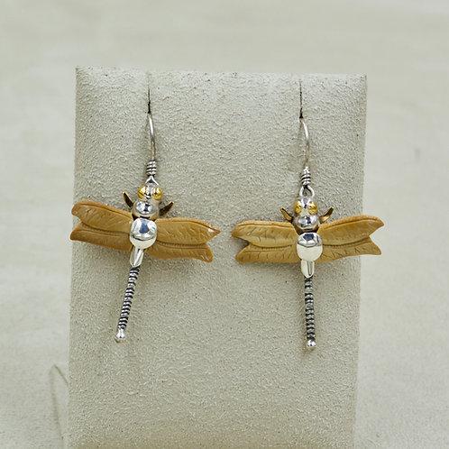 14k, Fossilized Walrus Tusk Dragonfly Earrings by Zealandia