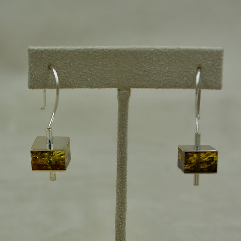 Green Amber & Sterling Silver Small Single Cubed Earrings by MTM Silver