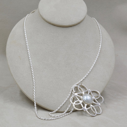 Pearl Pendant Flower & Sterling Silver on SS Chain by Michele McMillan