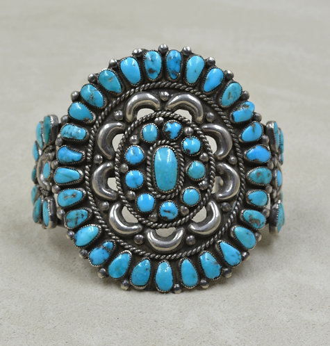 Vintage 70's Turquoise & Sterling Silver Petit Cuff