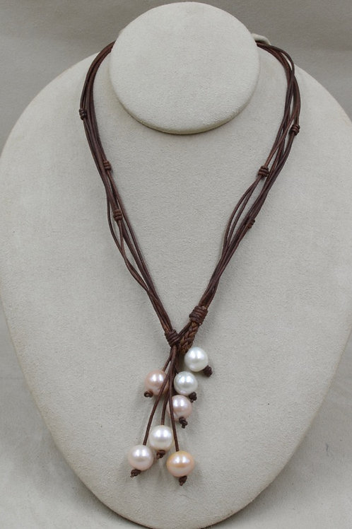 Yangtze Pearls Necklace on Brown Leather by US Pearl Co.