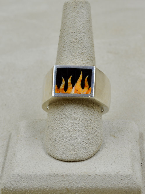 Flame 11x Ring w/ S. Silver w/ Black Jade, Spiny Oyster by GL Mi
