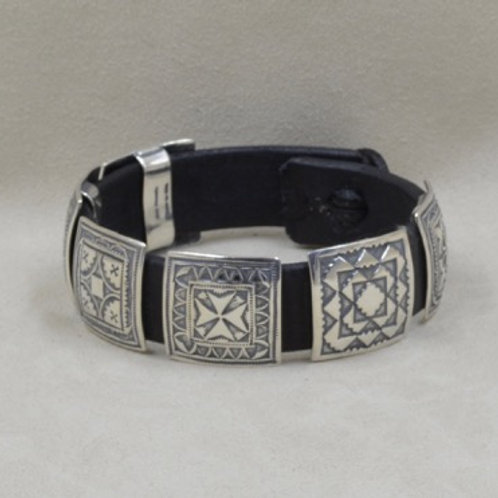 "1"" Square Large Concho Bracelet on Leather by Rick Montano"