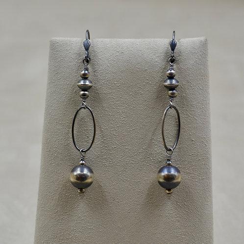 Navajo Pearl Sterling Silver Oxidized Ball Oval Loop Drop Earrings