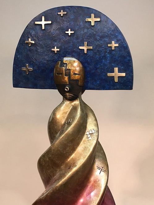 """""""Nurtured by Prayer"""" 8/15 - 37.5""""T x 15""""D x 15""""W Bronze Sculpture by Joe Cajero"""