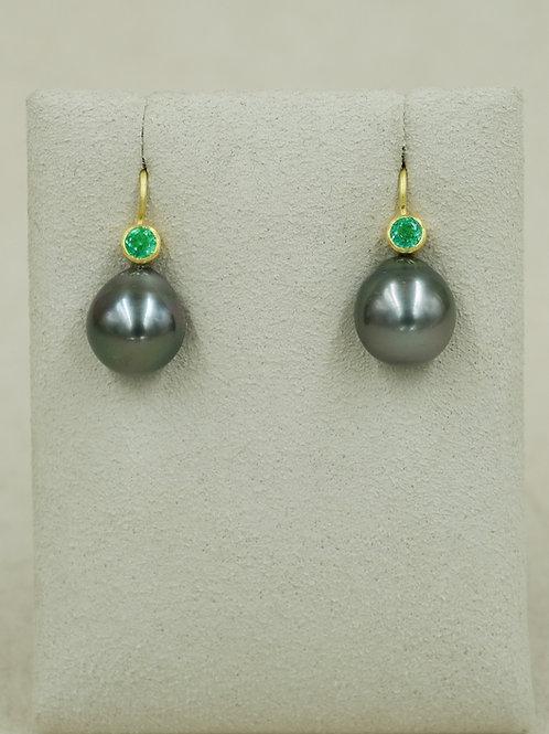 20/22k Black Sea Pearls & Emerald Earrings by Pamela Farland