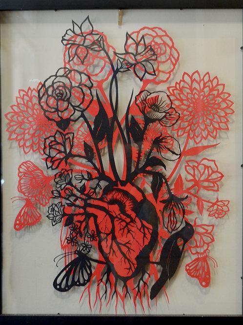 """'Heart to Heart' Papercut Framed - 21"""" x 17"""" by Valerie Rangel"""