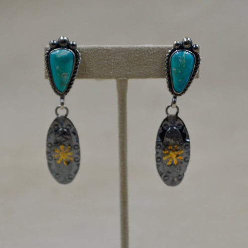 Keum Boo 24k Gold, SS, Natural Morenci Turquoise Post Earrings by Cheryl Arviso