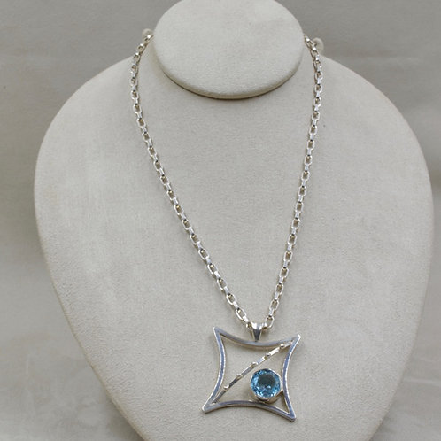Blue Topaz & Sterling Silver Pendant on Chain by Michele McMillan
