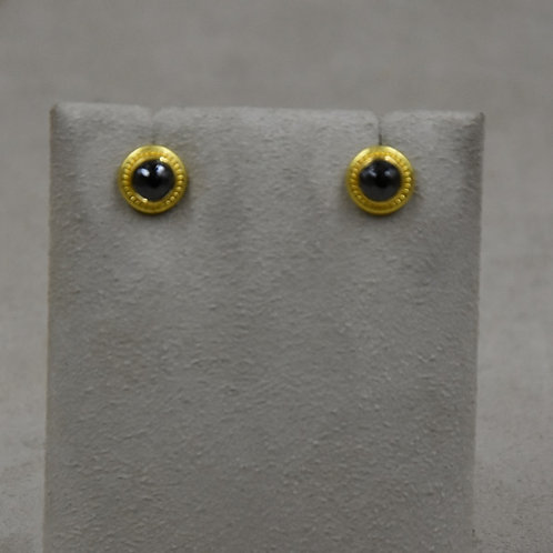 14k/18k/22k Gold and Black Diamond Stud Earrings by Pamela Farland