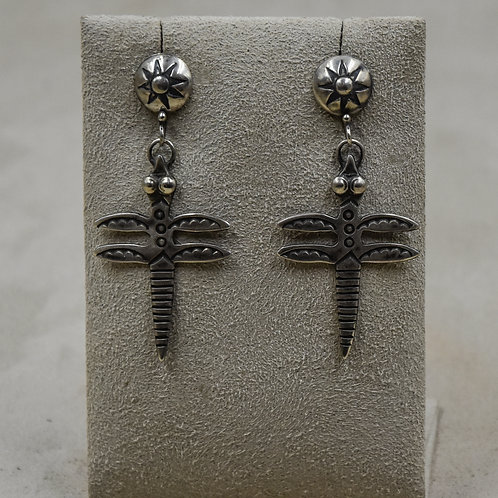 Ingot Dragonfly Concho Top Wire Sterling Silver Earrings by Buffalo