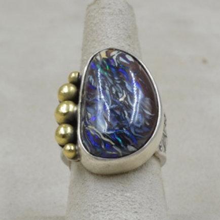 Australian Boulder Opal w/ 5 18k Balls 7X Ring by Jerry Faires