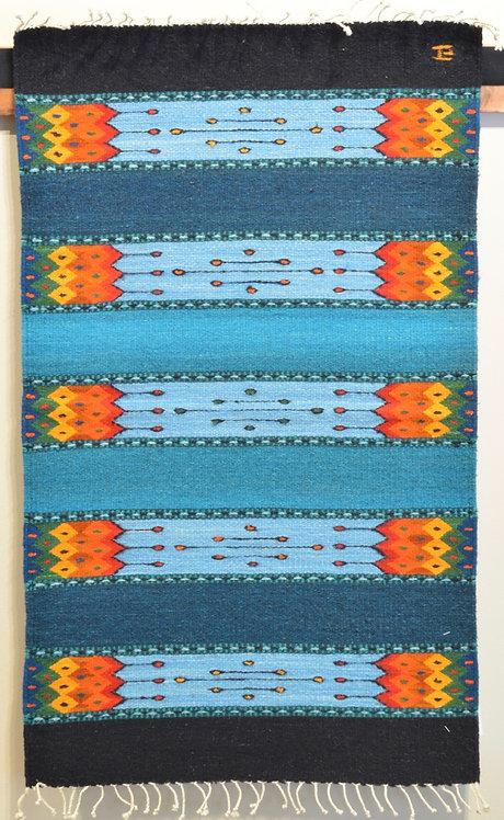 "Turquoise Geometric Panel Zapotec 24"" X 36"" Weaving"