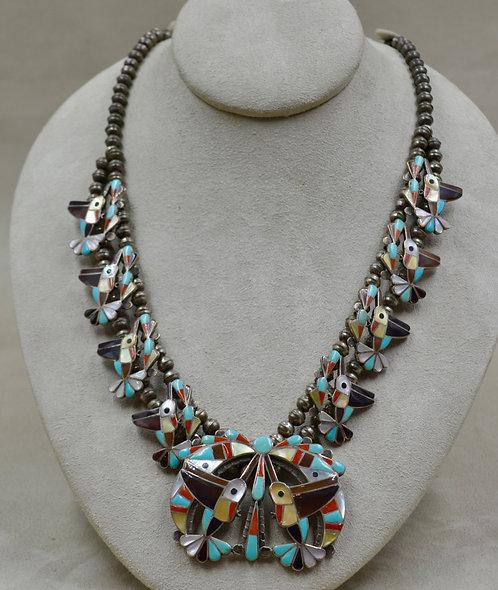 Vintage 50's Zuni Hummingbird Squash Blossom Mixed Stone Necklace