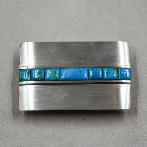 Kingman Turquoise and Sterling Silver Buckle by John Rippel
