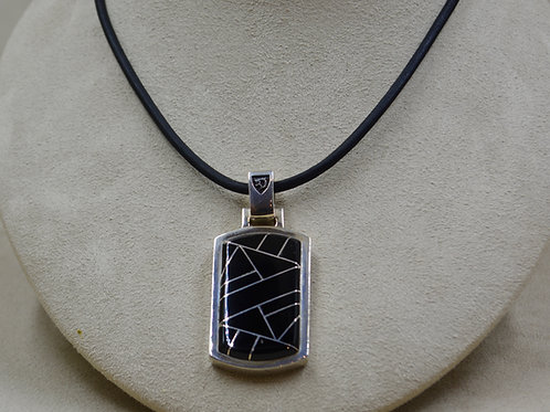 Onyx Inlay Dogtag Pendant by JL McKinney