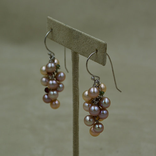 Cultured Freshwater Pink Pearl Cluster Dangle Earrings by US Pearl