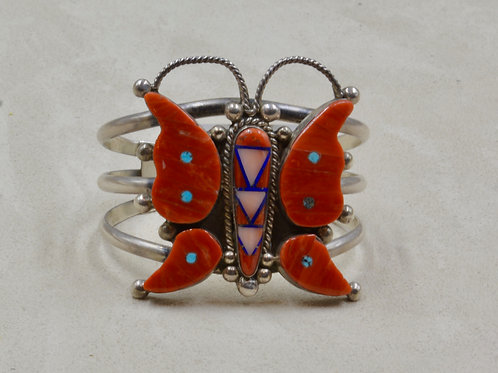 Inlay Butterfly Cuff w/ Coral, Lapis, Turquoise by Henry Sam & Roland Long