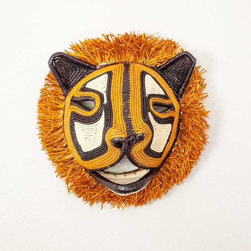 """Brown Fuzzy Tiny Cat Emberá Mask by Felicinda Guaynora - 8""""W x 8""""H"""