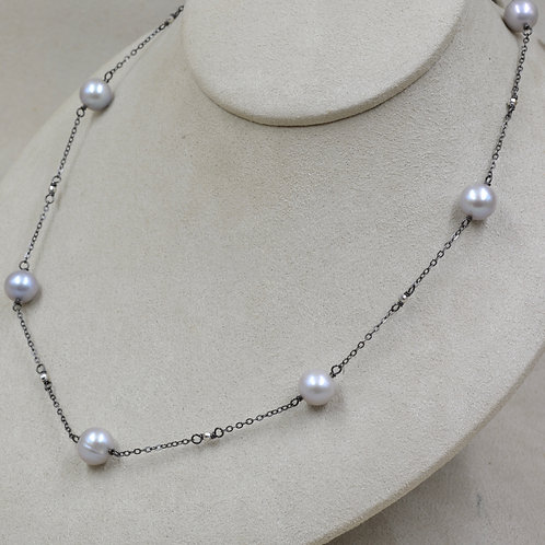 Cultured Freshwater Pearl Spinel & Sterling Silver Necklace by US Pearl Co.