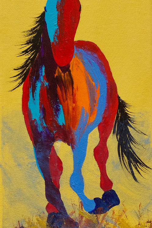"""'In the Lead' - Acrylic on Canvas - 15"""" x 6 1/2"""" - by John Saunders"""
