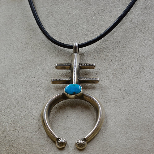 Kingman Turquoise & Sterling Silver Ingot Double Bar Naja Pendant by Buffalo