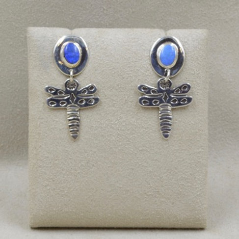 Sterling Silver Baby Dragonfly with Opals Earrings by Richard Lindsay