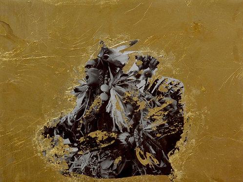 """Free Bird"" Black & White Photo w/ Gold Leaf -12"" x 16"" -by Robert Mesa"