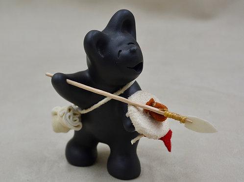 Mini Black Bear Warrior w/ Spear & Shield by Randy Chitto