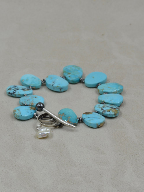 Kman Turquoise & Oxi Thai S. Silver Beads, Hematite & K. Pearl Toggle Bracelet