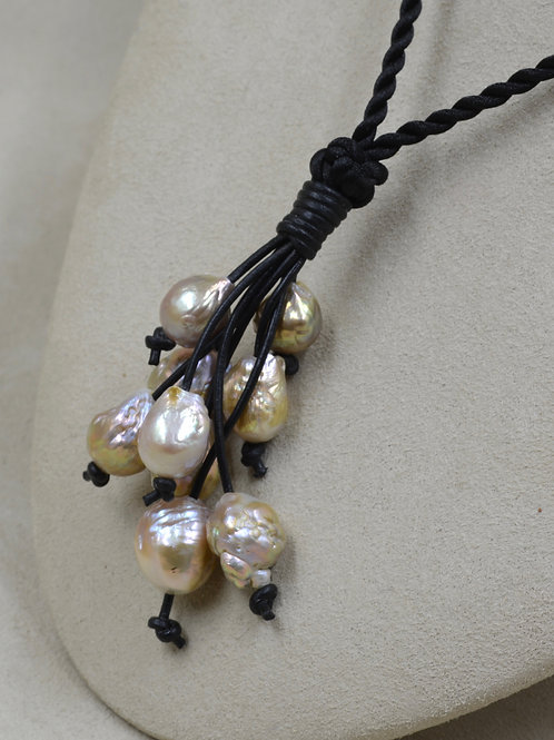 Bronze & Cultured Freshwater10-11mm Pearls on Black Cord Necklace by US Pearl Co