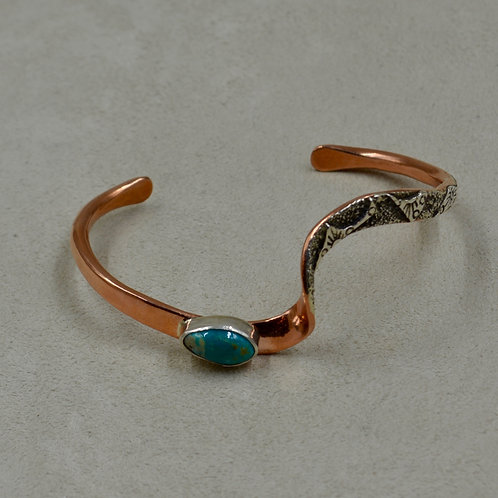 Copper, Stab Fox Turquoise, & Sterling Silver Cuff by Cheryl Arviso