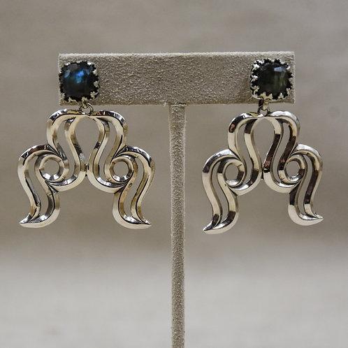 Raven Naja Labradorite Shiny Post Earrings by Gregory Segura