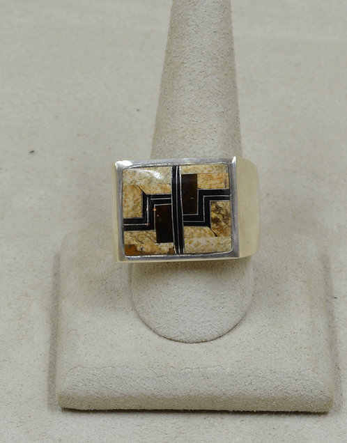 Square Ethnic Tigereye, Jasper & Sterling Silver 13x Ring by GL Miller Studio