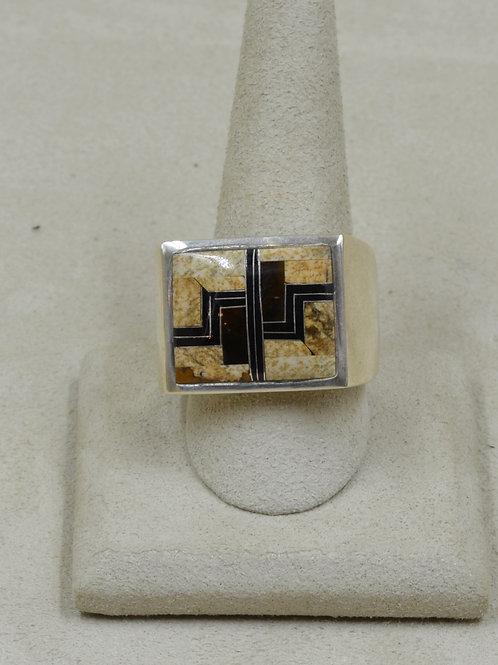 Square Ethnic Tigereye, Jasper & Sterling Silver 13x Ring by GL Miller Studio