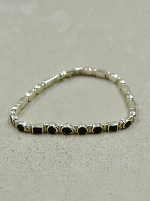 Sterling Silver Multi-Shape Onyx Tennis Bracelet by Peyote Bird