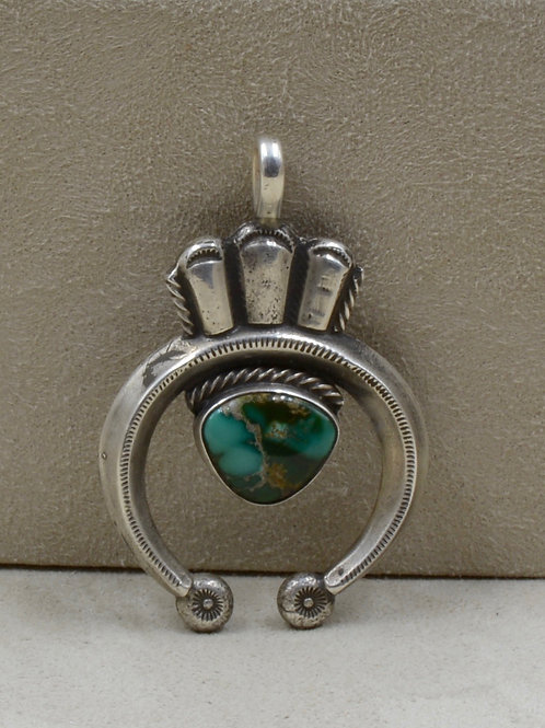 S. Silver Ingot Naja w/ Natural Damali Turquoise Pendant by Buffalo