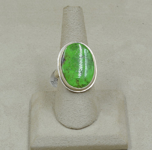 Oval Gaspeite and Sterling Silver 7.5x Ring by Joe Glover