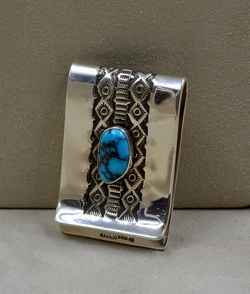 Stamped Sterling Silver & Natural Candelaria Turquiose Money Clip by Leonard Nez