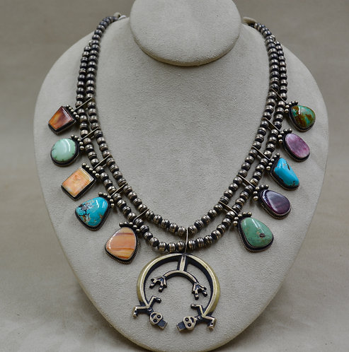 Vintage Squash Blossom & Yei Necklace w/ Turquoise & Spiny Oyster