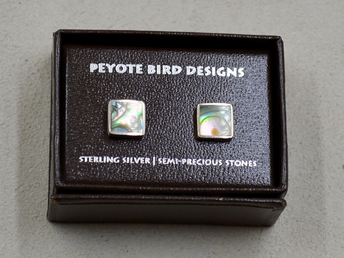 Flat Square Abalone Post Earrings by Peyote Bird Designs
