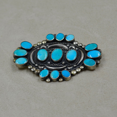 Vintage 60's Natural Blue Gem Turquoise Pin